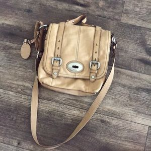 Fossil brown fawn colored crossbody purse
